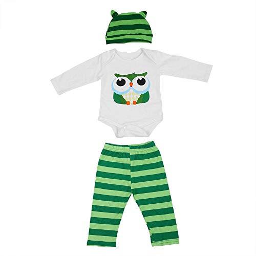 Weicher Babyoverall Weiß Neugeborenes Komfortable Strampler Langarm Creepers Kleidung Baumwolle Kleinkind Pyjama Anzüge Eule Print Stripes Hut Hose(100) -