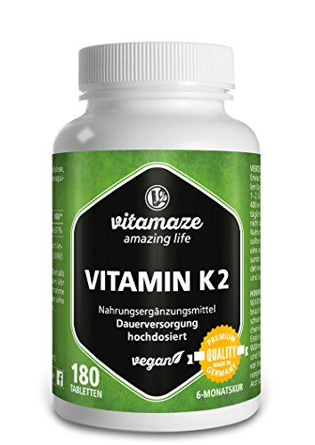 Vitamin K2 hochdosiert, zertifiziert 200µg MK-7 Menaquinon vegan 180 Tabletten 6 Monatsvorrat Made-in-Germany ohne Magnesiumstearat