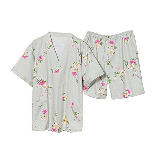 Blancho Flora Motif Gris Hommes Pyjamas Costume Pijamas Courte Suit Suit Vetement Lounge