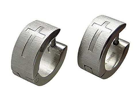 Edelstahl Ohrringe Kreuz Creolen silber Seide matt 6 mm klapp-Creole Herren Ohrstecker Flinserl (Ohrringe Männer Echt Silber)
