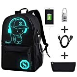 Gorgebuy Luminous Backpack -Bright Backpack School Child, Girl Boy Black Anime Child Teenager Adult Man Bolso de Escuela de la Universidad Glow Travel Sport