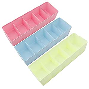 House of Quirk 5-Grid Plastic Storage Box Drawer Organizer (25 cm x 9 cm x 6 cm, Set of 3, Multicolour)