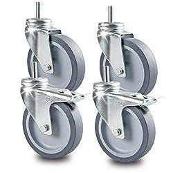 Apparaterollentransportrollen - 100mm - Set Inkl. Rückenloch M10 X 25mm Mit Gewinde (2 Lenkrolle, 2 Lenkrolle Mit Bremse)