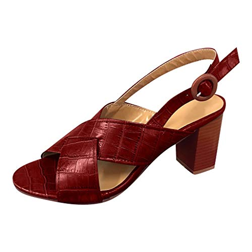 Frauen Fischmaul High Heel Schuhe,Keilabsatz Sandalen-Gürtelschnalle-Solide Knöchelriemen-Römersandalen Riemchensandalen URIBAKY
