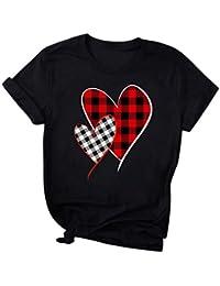 Camiseta de Mujer Manga Corta Corazón Impresión Blusa Camisa Cuello Redondo Basica Camiseta Suelto Verano Tops Casual Fiesta T-Shirt Original tee vpass