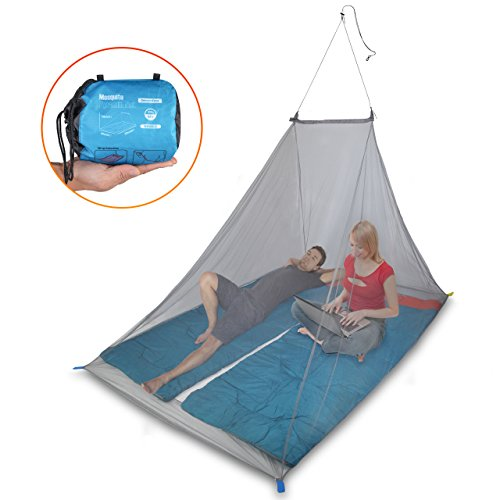 Hoyuelos Excel 2 persona que acampa mosquitera mosquitera de viaje al aire libre, triángulo mosca de la pantalla, protección contra insectos con el kit de suspensión y bolsa de transporte
