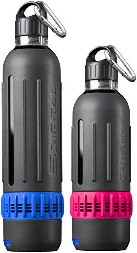 SDigital Spritz Marathon-Kit, Trinkflasche-Set mit Bluetooth-Lautsprecher (BPA-frei, MP3, 360 Grad-Sound, Spritzwassergeschützt) -