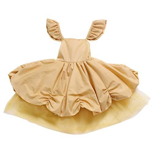 LEXUPE Kleinkind Baby Kinder Mädchen Geraffte Tüll Patchwork Cos Prinzessin Kleid Party Kleider(Gelb,80)