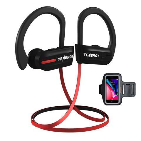 Tenergy T20 Bluetooth-Kopfhörer, IPX7, schweißfest, kabellos, Sport-Kopfhörer zum Laufen, Geräuschunterdrückung, 8 Stunden Arbeitszeit, In-Ear-Bluetooth-Stereo-Ohrhörer mit Mikrofon, Sportarmband