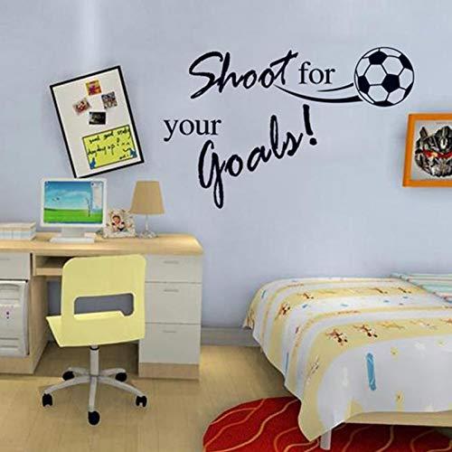 WANGGH Schießen Sie für Ihre Ziele inspirierende Zitate Fußball Wandaufkleber für Kinderzimmer Wohnzimmer Schlafzimmer Dekor Boy's GiftsDecals - Inspirierende Fußball