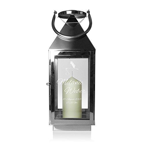 Edelstahl Laterne zur Geburt - Licht des Lebens - Motiv [Storch] - Personalisiert mit [Namen] [Datum] und [Uhrzeit] - Windlicht aus silbernem Metall - Geschenkidee zur Geburt - ca. 16 x 16 x 45 cm