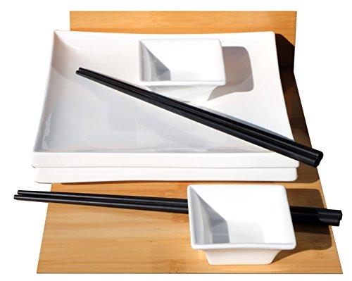 Set per sushi per 2 persone, quadrato, in stile giapponese, in ceramica bianca