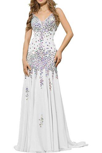 La_mia Braut Damen Chiffon V-ausschnitt Lang Abendkleider Ballkleider Abschlussballkleider mit Steine Weiß