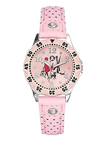 Lulu Castagnette–Trainings Dip–Mädchen Armbanduhr Analog–Zifferblatt Rosa Armband Leder rosa