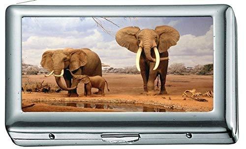 Animales Elefantes Bebé Cigarrillo Estuche/Caja Portatarjetas de Visita Estuche de Acero Inoxidable...