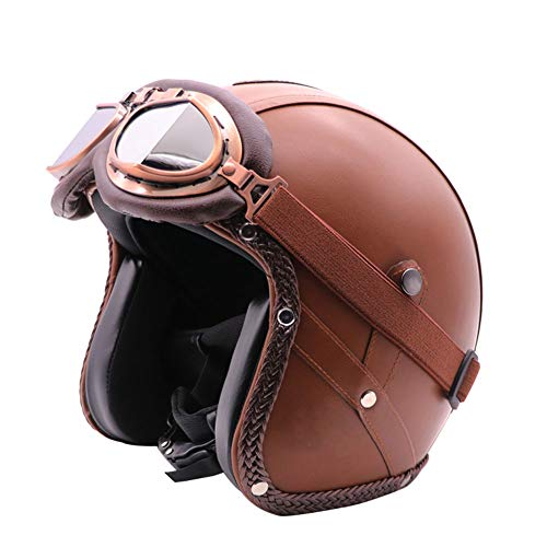 LWAJ Moto Scooter Jet Casco,DOT Omologato Vintage Helmet Vespa Motorino(57-60cm),A,L=(58-59cm)