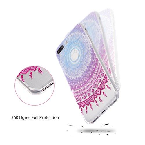 iPhone 7 Plus Hülle, E-Lush TPU Soft Silikon Tasche Transparent Schale Clear Klar Hanytasche für Apple iPhone 7 Plus (5.5 Zoll) Durchsichtig Rückschale Ultra Slim Thin Dünne Schutzhülle Weiche Flexibe Mandala Tribal Violet