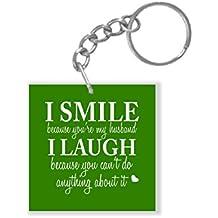 YaYa cafe Birthday Gifts Gifts for Husband, I Smile I Laugh Funny Teasing Husband Keychain Keyring for Men