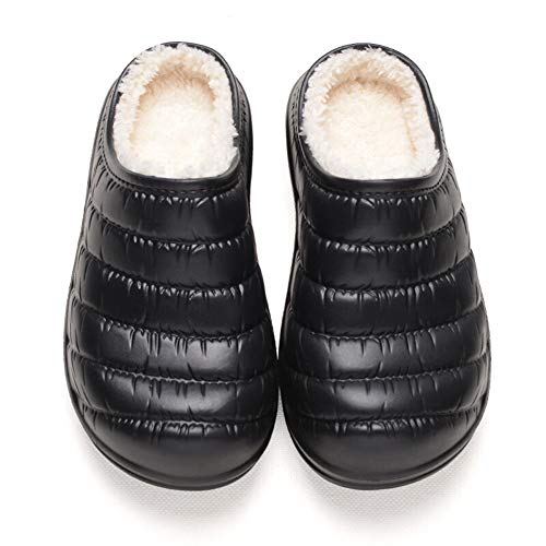 Baumwolle Pantoffeln Weiche Hausschuhe Haus Slipper Rutschfeste Slippers Indoor Pantoffeln-Wasserdichte, Rutschfeste Leder-Halbverpackung Mit Warmen Baumwollpantoffeln LEBAO