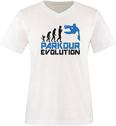 EZYshirt® Parkour Evolution Herren V-Neck T-Shirt Weiß/Schwarz/Blau