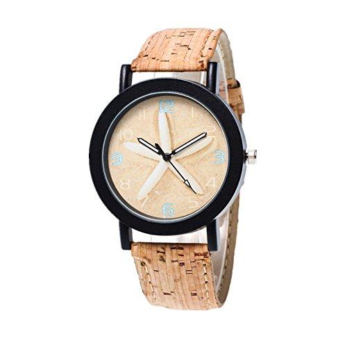 Damen Retro Stil Farbig Streifen Armbanduhr Quartz Analog mit Batterie (Seestern)