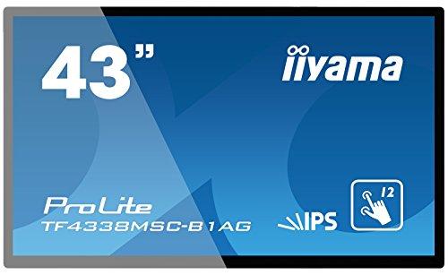 iiyama ProLite TF4338MSC-B1AG 108cm (43 Zoll) IPS LED-Monitor Full-HD Open Frame 12 Punkt Multitouch kapazitiv (VGA, DVI, 2xHDMI, DisplayPort, USB für Touch, IP54, AntiGlare Beschichtung) schwarz