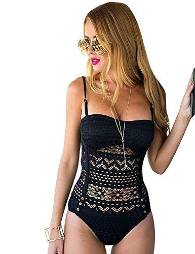 Lookbook Store Damen einteilig Schwimmanzug SW-116 mit abnehmbarem Nackenband, teilweise gefüttert, Schwarz, EU 38 -