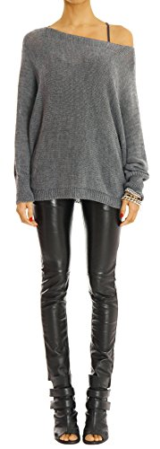 Bestyledberlin pull-over femme, pull-over aux manches chauve-souris t35p Gris