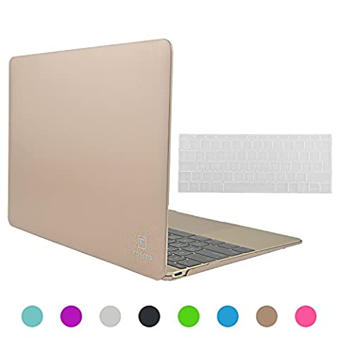 For Macbook Case 12 inch, Forito Soft-Touch Plastic Hard Case for Apple the New Macbook 12 inch Retina Display A1534, 2 in 1 Multi Colors Rubberized Hard Case Cover + Silicone Keyboard Cover (Gold)