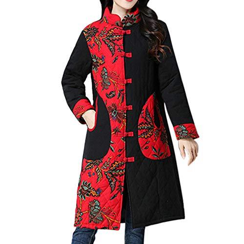 SEWORLD Winterjacke Steppjacke Mantel Damen Heißer Einzigartiges Design Folk-Custom Drucken Buttons Baumwolle Outwear Warme Lange Dicke Jacke Parka(Schwarz,EU:38-42/CN:L) Custom Jeans Jacke