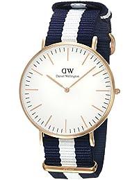 Daniel Wellington - 0104DW - Glasgow - Montre Mixte - Quartz Analogique - Cadran Rose - Bracelet Nylon Multicolore