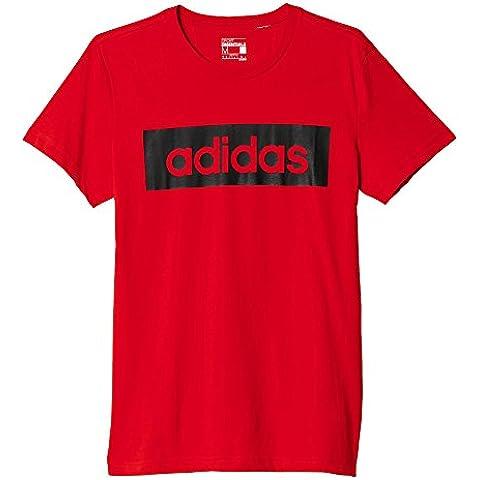 adidas Lin Tee - Camiseta para hombre, color rojo, talla S