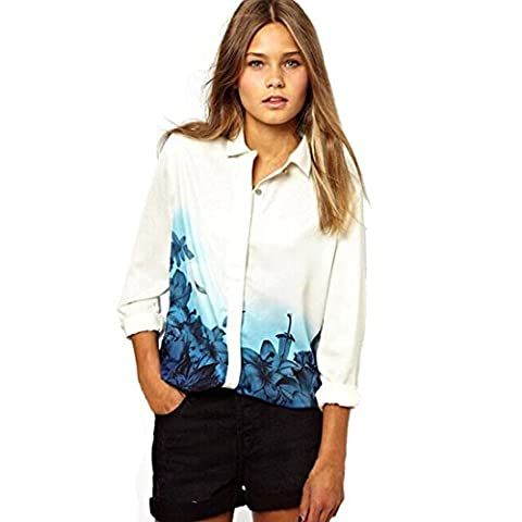 Atdoshop Long Sleeve Blouse Womens Ladies Flower Print Chiffon T-shirt Tops (L)