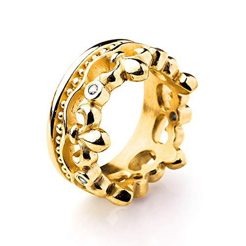 Drachenfels Luxus Damen Bandring | Kollektion Lilienkönigin | Edler Lilien Kronen Ring in Echtsilber | Designschmuck aus 925 Sterling Silber, goldplattiert | Gr. 54
