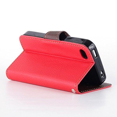 iphone 5 5S Case, Ukayfe Custodia portafoglio / wallet / libro in pelle per iphone 5/5S - Cover elegante e di alta qualità con porta carte di credito e banconote creativa fogliame Cikou progettazione  Rosso