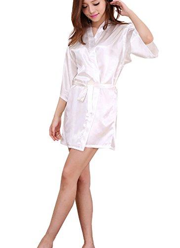 DELEY Femmes Kimono Satin Soie Sexy Couleur Pure Peignoir Robe de Chambre Vêtements de Nuit Sortie de Bain Nuisette Déshabillé Blanc