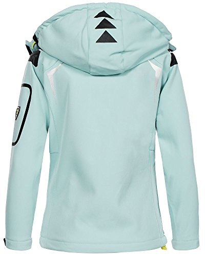 Geographical Norway Damen Softshell Outdoor Jacke Tassion abnehmbare Kapuze aqua/anis