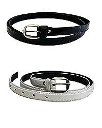 Krystle Women's PU leather belts set of 2 combo (Black & White)