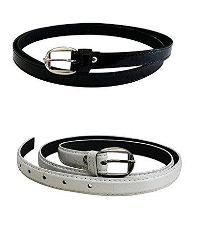 Krystle Women\'s PU leather belts set of 2 combo (Black & White)