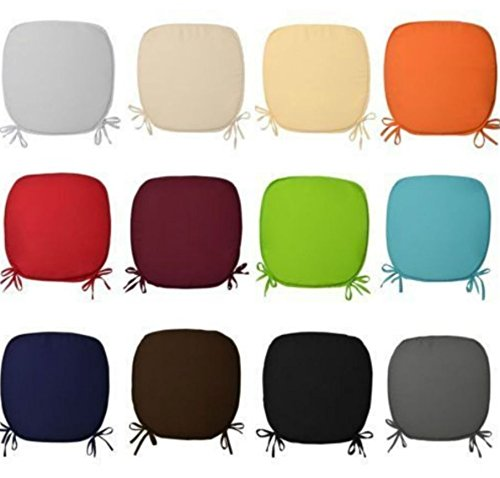 REMOVABLE CHAIR SEAT PADS WITH TIES CHAIRS OFFICE HOME GARDEN FOAM CUSHIONS (pack of 2,4 ,6 & 8) ,In 12 colors... (pack of 4, Grey)