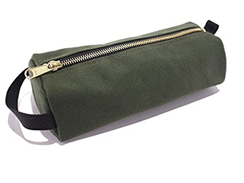 Rough Enough Highly Heavy Canvas Military Classic Small Tool Pencil Case Pouch (Raw Green) by ROUGH ENOUGH