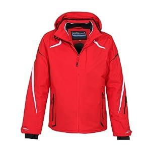 Bergson Rot Herren Skijacke Valley – elastisch, wasserdicht, Winddicht, atmungsaktiv,warm, Wassersäule: 12000 mm, Atmungsaktivität: 12000 g/qm/24Std