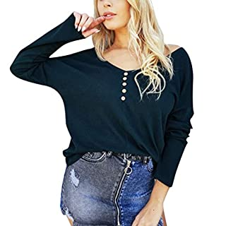 Yvelands Damen Mantel Tops Solid Button V-Ausschnitt Langarmhemd Kalte Schulterbluse (EU-34/M,Schwarz)