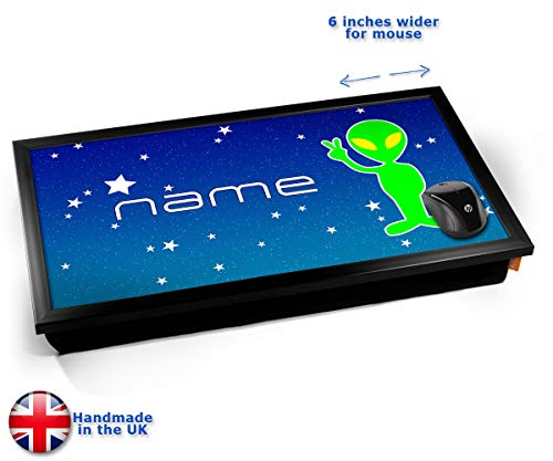Space Alien Personalised Childrens Name Cushioned Bean Bag Laptop Lap Tray Desk - Built-in EMF...