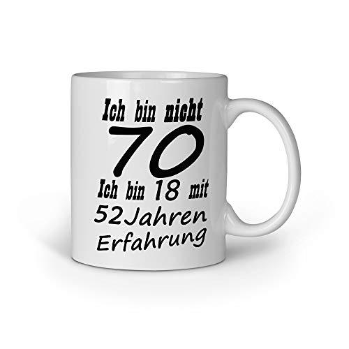 Loomiloo Ich Bin Nicht 70 ich Bin 18 mit 52 Jahren Erfahrung 70. Geburtstag Geschenk Tasse (Geschirr Geburtstag 70.)