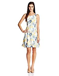 United Colors of Benetton Womens Pleated Dress (15P4CR5V6043I_901-Light Blue/ print_Large)