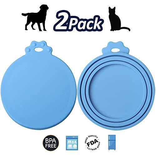 ISKM Dosendeckel 2er-Set Futterdosen Deckel Tierfutter Lebensmittelechtes Silikon BPA Frei & FDA-Zulassung 3in1 Passform Katzen & Hunde (2er Pack Blau)