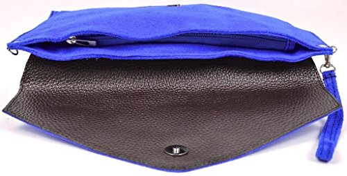 Big Handbag Shop , Damen Clutch One, Blau - Blu (Blu navy) - Größe: One Size Hellgrün