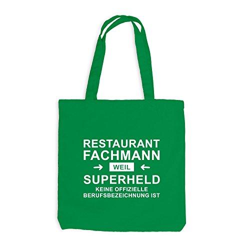 Jutebeutel - Restaurant Fachmann Superheld - Hero Beruf Kellygrün
