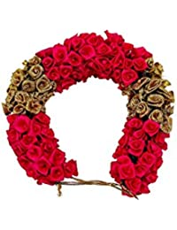 Manav company Red Fabric Veni Flowers Hair Accessories for Women